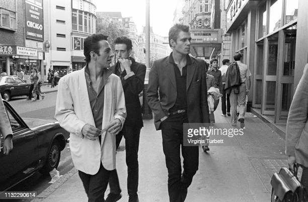 The Clash, left to right, Joe Strummer, Mick Jones and Paul Simonon, in Leicester Square, London, 6th July 1979.