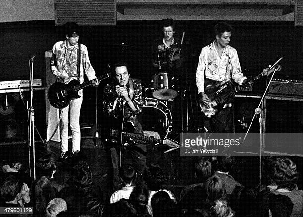 The Clash performing at the Royal College of Art , London, 5th November 1976. Left to right: Mick Jones, Joe Strummer , Terry Chimes and Paul...