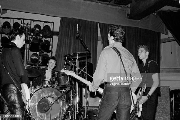 The Clash rehearse on stage at Notre Dame Hall, London, 6th July 1979. L-R Mick Jones, Topper Headon, Joe Strummer, Paul Simonon.