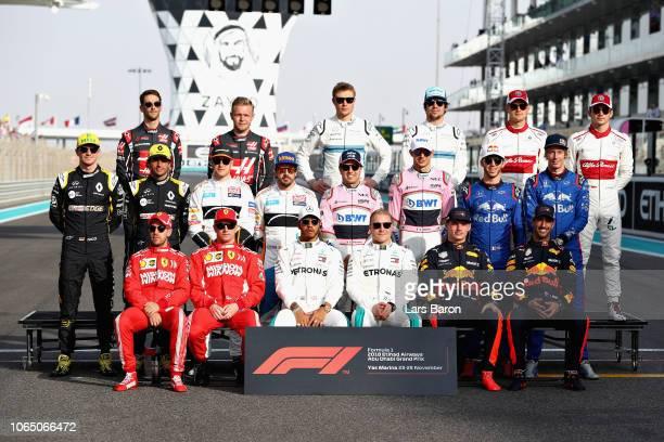 The Class of 2018 F1 Drivers Photo before the Abu Dhabi Formula One Grand Prix at Yas Marina Circuit on November 25 2018 in Abu Dhabi United Arab...