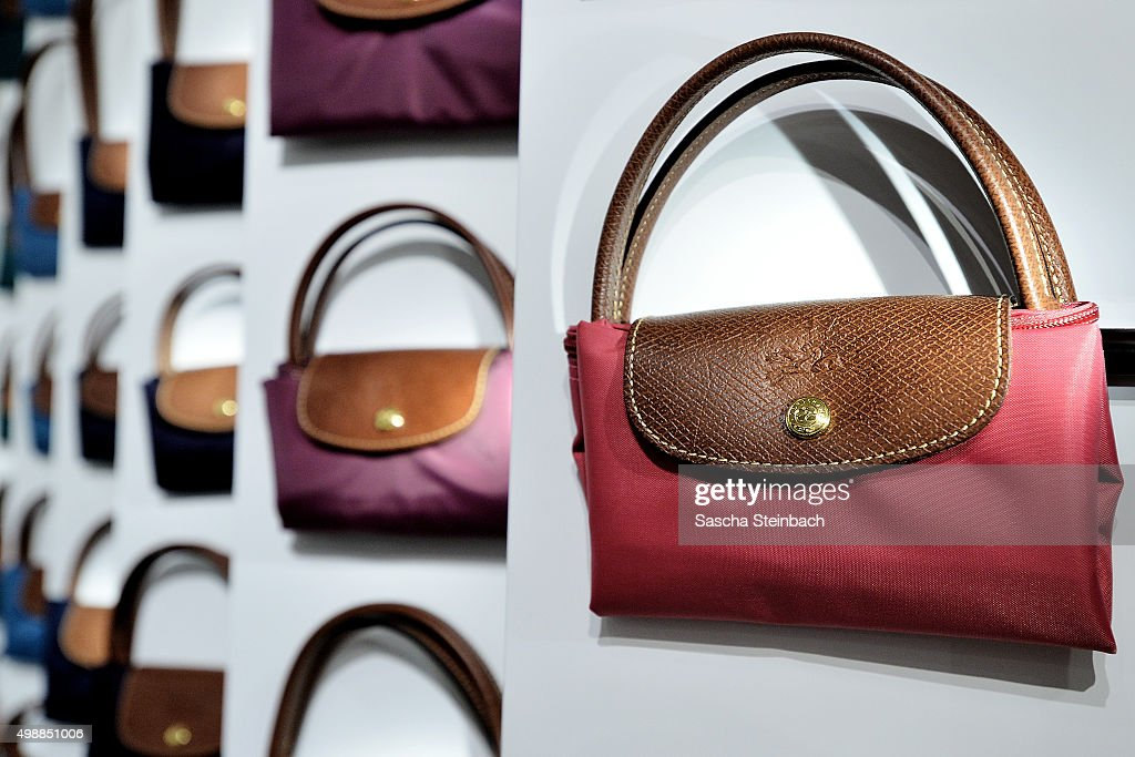 The classic 'Le Pliage' bag of Longchamp is seen during the Longchamp store opening on November 26, 2015 in Cologne, Germany.