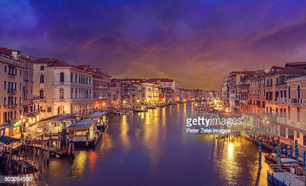 The classic view of the Grand Canal in Venice from the Rialto bridge.