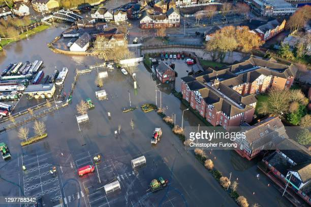 The clean up as floodwater begins to recede from the town of Northwich, Cheshire, in the aftermath of Storm Christoph on January 22, 2021 in...