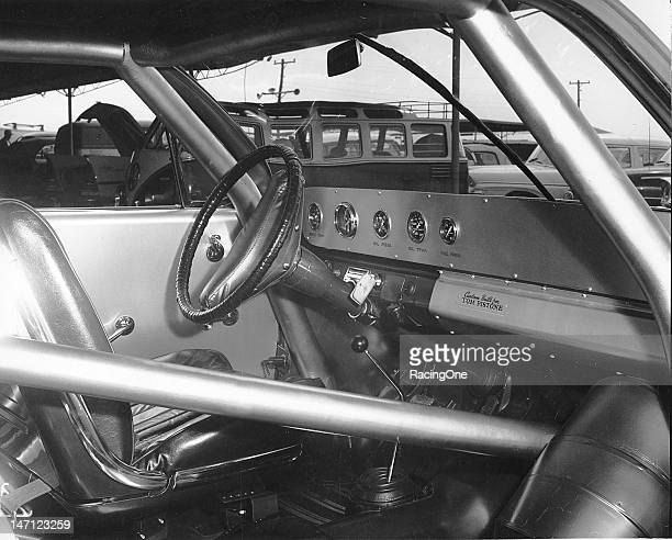 """The clean yet simple interior of the NASCAR Cup machine of Tom Pistone that according to the plate on the dashboard was """"custom built"""" for him"""
