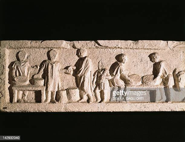 The cleaning of the grain, detail of a frieze depicting the stages of baking bread, from the tomb of the baker, Marcus Virgilius Eurisace. Roman...