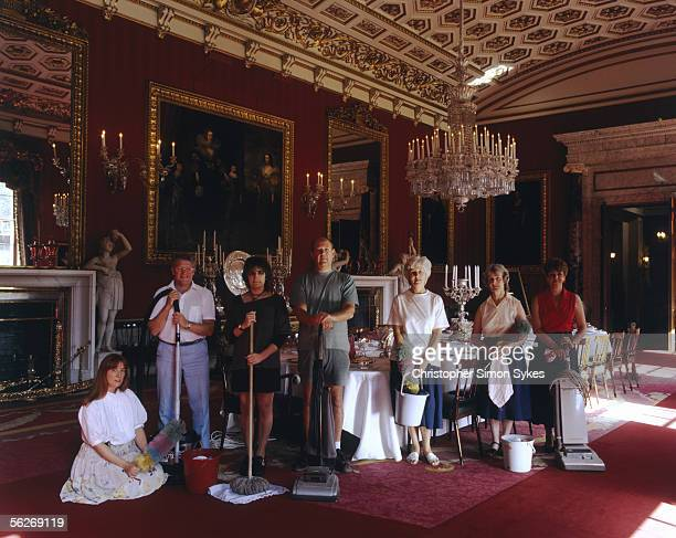 The cleaning staff of Chatsworth House in Derbyshire, 1990s.