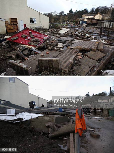 COMPOSITE IMAGE In this composite a comparison has been made between flood damage in Cockermouth photographed on November 25 2009 and on December 8...