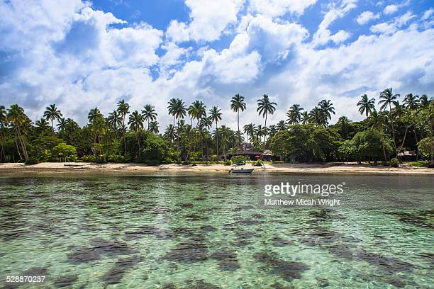 the clear coral waters off the coral coast. - fiji stock pictures, royalty-free photos & images