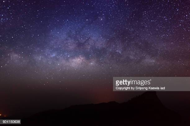 the clear milky way and billion of stars over the doi mon jong, chiang mai, thailand. - nebula stock pictures, royalty-free photos & images