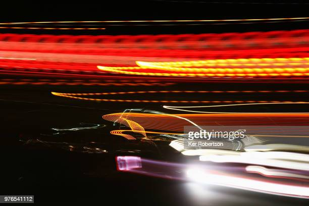 The Clearwater Racing Ferrari 488 GTE of Weng Sun Mok Matthew Griffin and Keitha Sawa drives during the Le Mans 24 Hour race at the Circuit de la...