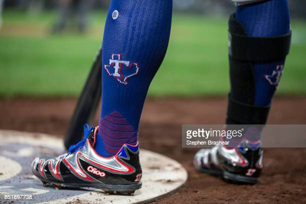 The cleats of ShinSoo Choo of the Texas Rangers are pictured during a game against the Seattle Mariners at Safeco Field on September 19 2017 in...