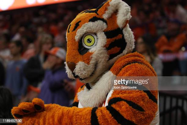 The Clemson mascot The Tiger during a college basketball game between the South Carolina Gamecocks and the Clemson Tigers on December 15 at...