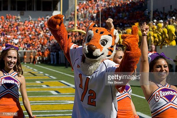 The Clemson Tiger gets the fans worked up prior to the game against the Georgia Tech Yellow Jackets at Bobby Dodd Stadium on September 29, 2007 in...