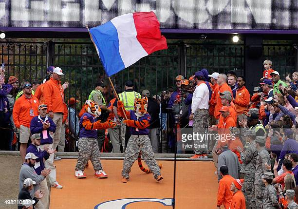 The Clemson Tiger mascot carries the French Flag prior to the game against the Wake Forest Demon Deacons at Memorial Stadium on November 21 2015 in...