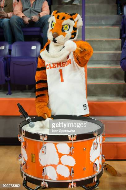 The Clemson Tiger mascot prior to 1st half action between the Clemson Tigers and the Louisville Cardinals on January 06 2018 at Littlejohn Coliseum...