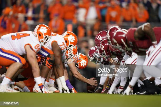 The Clemson Tigers and Alabama Crimson Tide square off during the first quarter of Alabama Crimson Tide's game versus the Clemson Tigers in the...