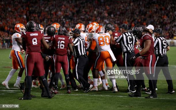 The Clemson Tigers and South Carolina Gamecocks get into a scuffle after a play during their game at WilliamsBrice Stadium on November 25 2017 in...