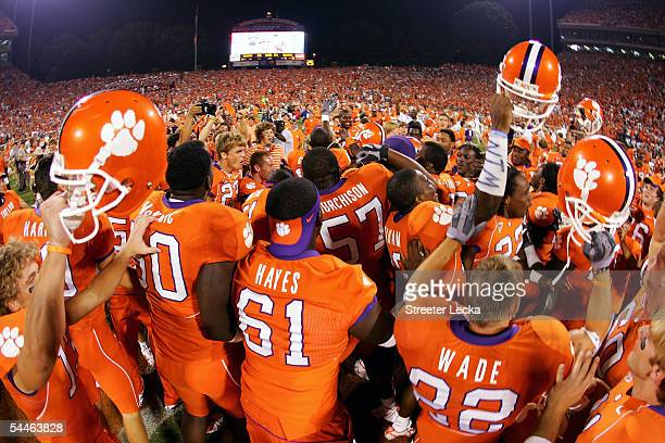 The Clemson Tigers celebrate after a game-winning 42-yard field goal to defeat the Texas A&M Aggies 25-24 at Clemson Memorial Stadium on September 3,...