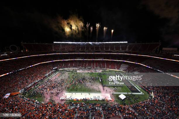 The Clemson Tigers celebrate after defeating the against the Alabama Crimson Tide in the College Football Playoff National Championship at Levi's...