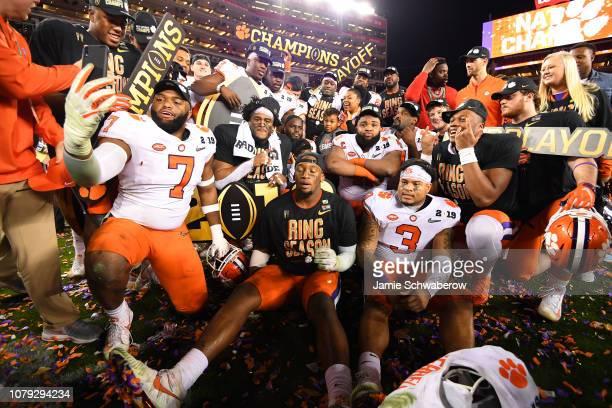 The Clemson Tigers celebrate after defeating the Alabama Crimson Tide during the College Football Playoff National Championship held at Levi's...