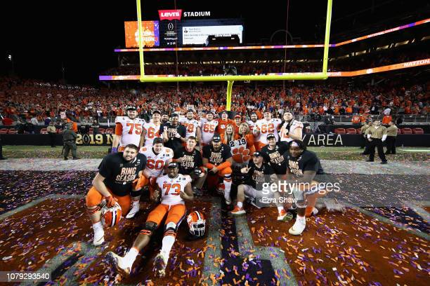 The Clemson Tigers celebrate their 4416 win over the Alabama Crimson Tide in the CFP National Championship presented by ATT at Levi's Stadium on...