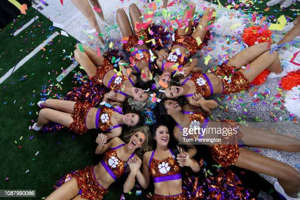 The Clemson Tigers cheerleaders celebrate after defeating the Notre Dame Fighting Irish during the College Football Playoff Semifinal Goodyear Cotton...