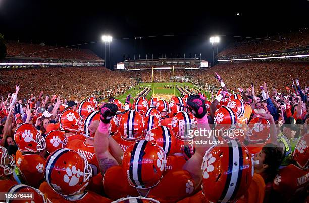 The Clemson Tigers enter the stadium before their game against the Florida State Seminoles at Memorial Stadium on October 19, 2013 in Clemson, South...