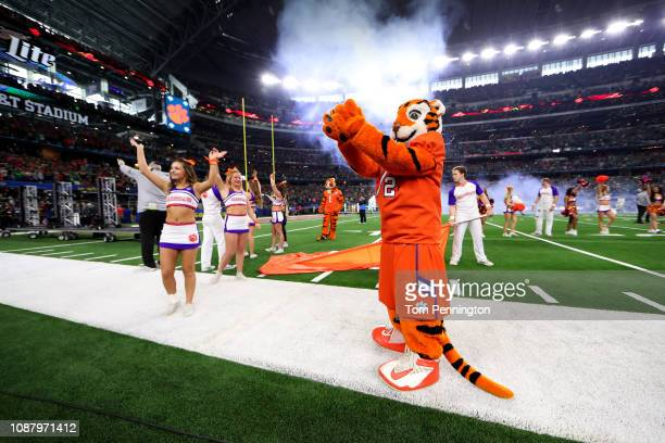 The Clemson Tigers mascot and cheerleaders wave to the crowd during the College Football Playoff Semifinal Goodyear Cotton Bowl Classic against the...