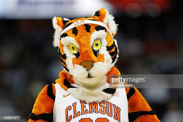 The Clemson Tigers mascot looks on against the Virginia Tech Hokies during their first round game of 2012 ACC Men's Basketball Conferene Tournament...