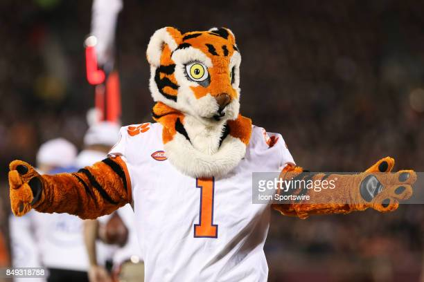The Clemson Tigers mascot performs during the NCAA football game against the Clemson Tigers and the Louisville Cardinals on September 16th 2017 at...