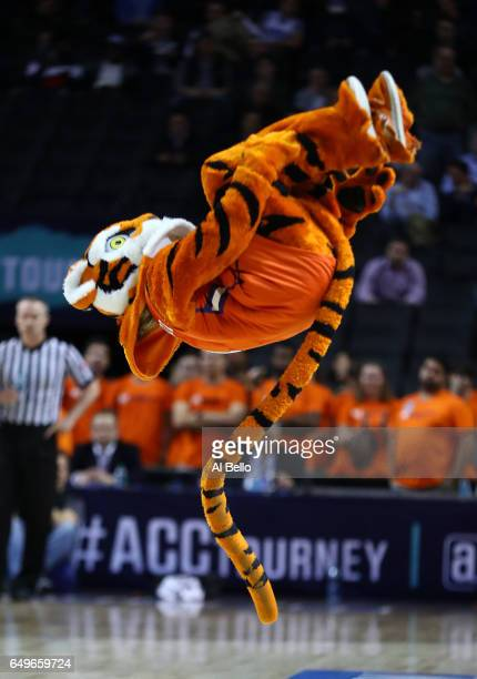 The Clemson Tigers mascot performs during the second round of the ACC Basketball Tournament at the Barclays Center on March 8 2017 in New York City