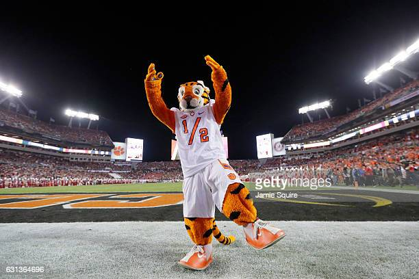The Clemson Tigers mascot performs on the field in the 2017 College Football Playoff National Championship Game at Raymond James Stadium on January 9...