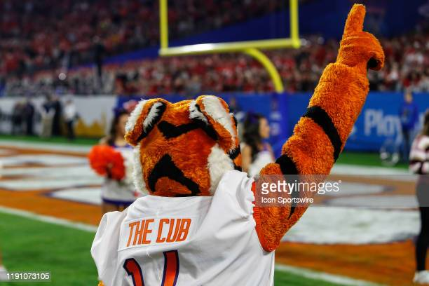 The Clemson Tigers mascot points before the Fiesta Bowl college football playoff semi final game between the Clemson Tigers and the Ohio State...