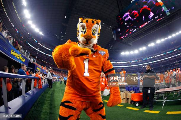 The Clemson Tigers mascot reacts on the sideline in the second half against the Notre Dame Fighting Irish during the College Football Playoff...