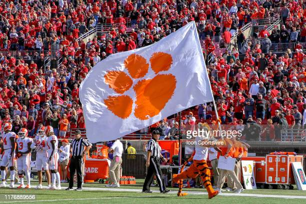 The Clemson Tigers mascot The Tiger leads Clemson on to the field prior to the college football game between the Clemson Tigers and Louisville...