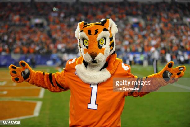 The Clemson Tigers mascot works the crowd during the ACC Championship game between the Miami Hurricanes and the Clemson Tigers on December 02 2017 at...