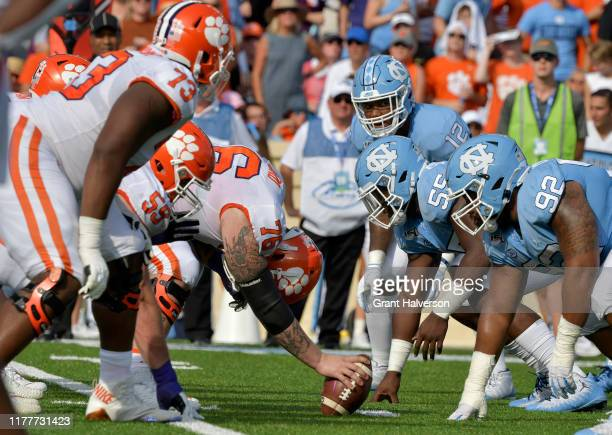 The Clemson Tigers offense lines up against the North Carolina Tar Heels defense during the first half of their game at Kenan Stadium on September 28...
