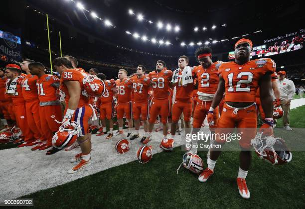 The Clemson Tigers react after the AllState Sugar Bowl against the Alabama Crimson Tide at the MercedesBenz Superdome on January 1 2018 in New...