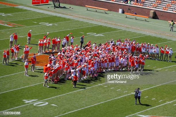 The Clemson Tigers sing following the Clemson Orange and White Spring Game at Memorial Stadium on April 3, 2021 in Clemson, South Carolina.