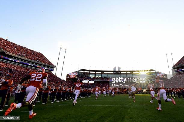 The Clemson Tigers take the field for their football game against the Auburn Tigers at Memorial Stadium on September 9 2017 in Clemson South Carolina