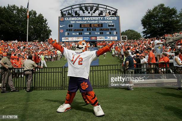 The Clemson University Tigers mascot entertains the crowd during an Atlantic Coast Conference game against the Wake Forest Demon Deacons on September...