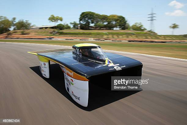 The Clenergy TeamArrow car competes during track testing for the 2015 Bridgestone World Solar Challenge at Hidden Valley Motor Sport Complex on...