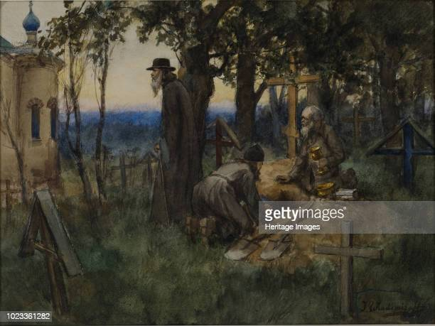 The clergymen hiding church treasures in a new grave in a cemetery 1922 Private Collection