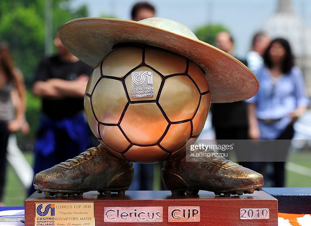 The Clericus Cup trophy stands on show after the final of the fourth Clericus Cup between The Redemptoris Mater and The American Martyrs on May 29, 2010 at the Pontificio Oratorio San Pietro in Rome, near The Vatican. The Clericus Cup, is the football championship organized by the Vatican at the Italian sporting Center (CSI), a sport organization of the Catholic Church.