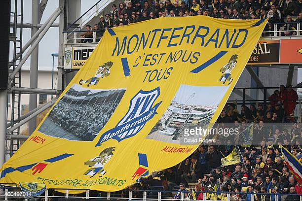 The Clermont Auvergne fans show their support during the European Rugby Champions Cup pool one match between ASM Clermont Auvergne and Munster at...