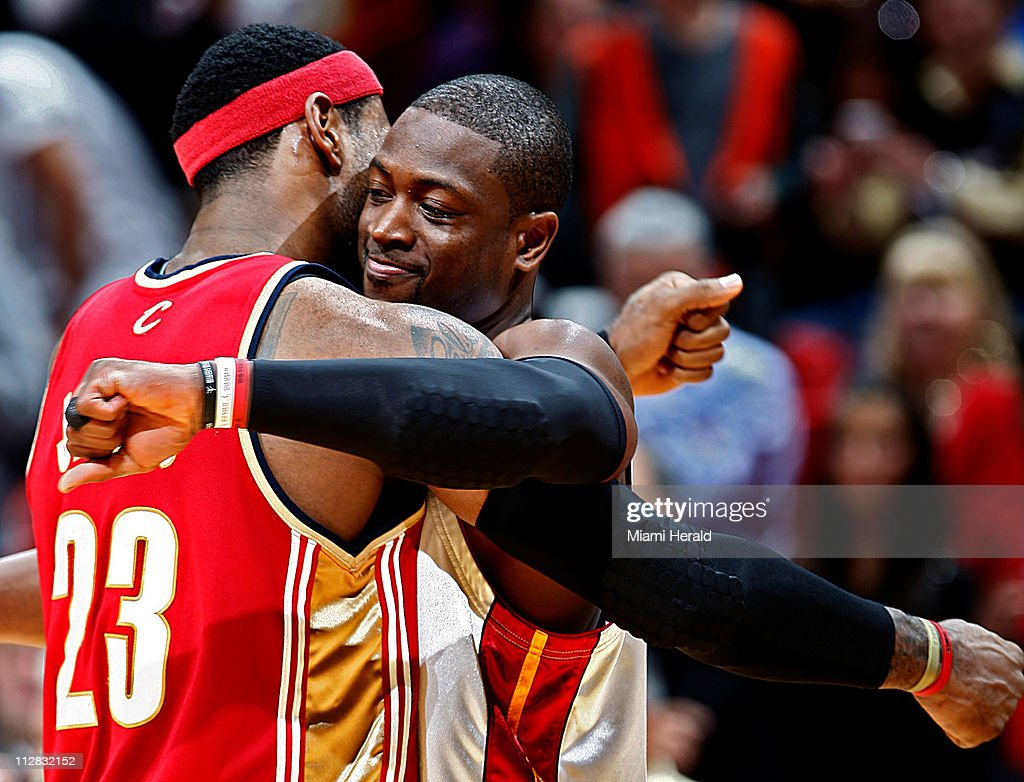 The Clevaland Cavaliers' LeBron James, left, and Miami Heat's Dwyane Wade, right, greet each other prior to the game at American Airlines Arena in Miami, Florida, Thursday, November 12, 2009.