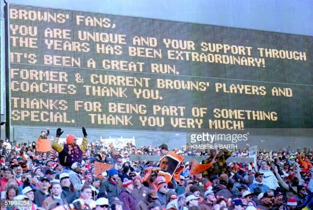 The Cleveland Browns scoreboard located behind the dawg pound dipslays a message thanking the fans after the final home game at Browns Stadium 17...