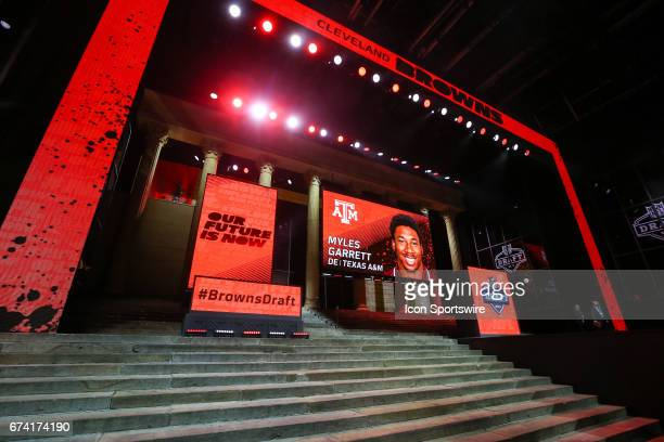 The Cleveland Browns select Myles Garrett of UCLA with the first pick in the 2017 NFL Draft Theater in front of the Philadelphia Art Museum on April...
