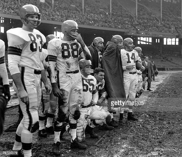 The Cleveland Brownsincluding future HallofFamers Doug Atkins Chuck Noll Dante Larelli and Otto Grahamstand on the sidelines during the 1954 NFL...