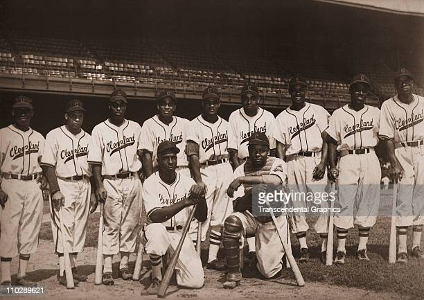The Cleveland Buckeyes of the Negro National League pose for a team portrait in Municipal Stadium circa 1947 in Cleveland, Ohio. Quincy Trouppe the...